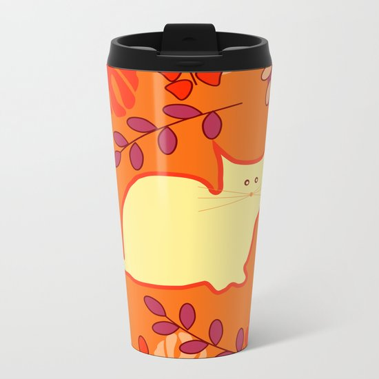 Curious cat, butterflies and leaves Metal Travel Mug