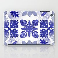 scandinavian iPad Cases featuring Scandinavian Inspired Blue Snowflakes by CrypticFragments Design