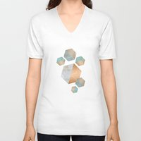 concrete V-neck T-shirts featuring Honeycomb Concrete by cafelab