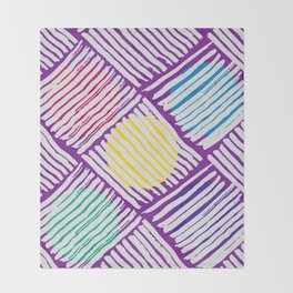 Purple Pattern with White Lines and Colors Circles Throw Blanket