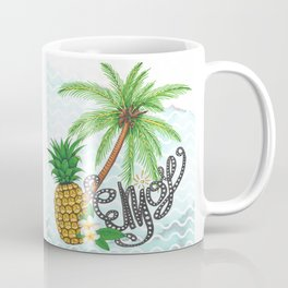 Palm Hand Painted Pineapple Illustration Enjoy Lettering Coffee Mug