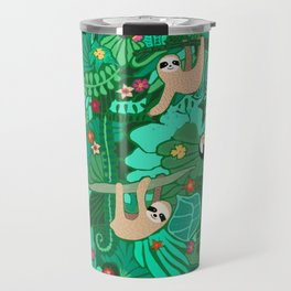 Sloths in the Emerald Jungle Pattern Travel Mug