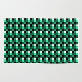 Emerald Ring Blocks, Checkered Pattern - Jade Rug