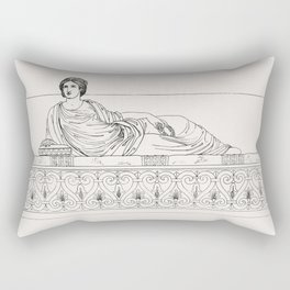 Roman lady on a couch from An  of the Egyptian Grecian and Roman costumes by Thomas Baxter (1782-182 Rectangular Pillow