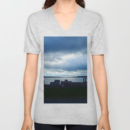 Wooden Train by the Shore in Georgetown PEI Unisex V-Neck