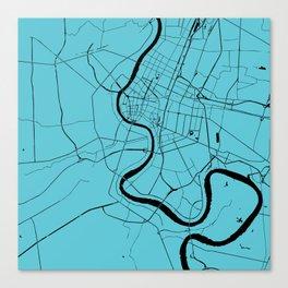 Bangkok Thailand Minimal Street Map - Turquoise and Black Canvas Print
