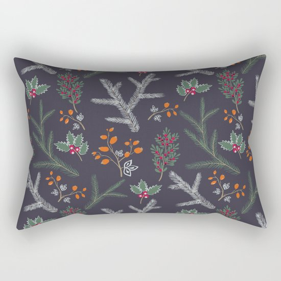 Seamless pattern with floral branches winter christmas hand drawn texture background Rectangular Pillow