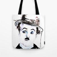 charlie chaplin Tote Bags featuring Charlie Chaplin by Anastasia Efthias