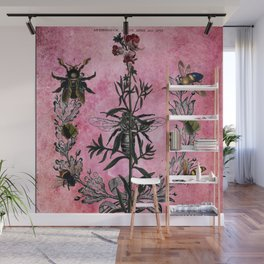 Vintage Bees with Toadflax Botanical illustration collage Wall Mural