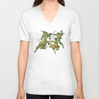 tmnt V-neck T-shirts featuring TMNT by Brittany Ketcham