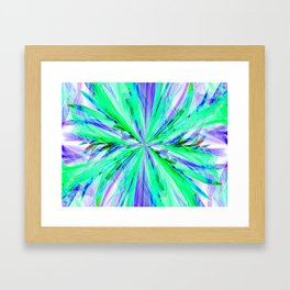 Blue/Green Feathery Abstract Framed Art Print