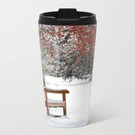 Winter Bench and Crabapple Tree Travel Mug