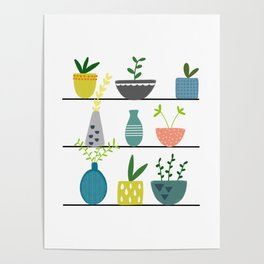 Potted Plants on a Shelf Poster