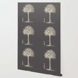 Palm tree - botanical silver illustration Wallpaper