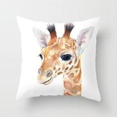 Baby Giraffe Cute Animal Watercolor Throw Pillow