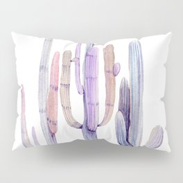Minimalist Cactus Drawing Watercolor Painting Purple Pillow Sham