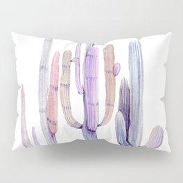 Minimalist Cactus Drawing Watercolor Painting Purple Pillow Sham