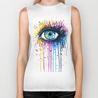 "power Biker Tanks featuring ""Rainbow Eye"" by PeeGeeArts"