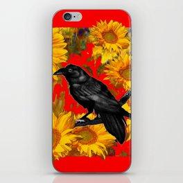 DECORATIVE CROW & SUNFLOWERS  RED GARDEN ART iPhone Skin
