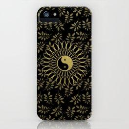 'Yin Yang Golden Daisy' Gold Black mandala iPhone Case