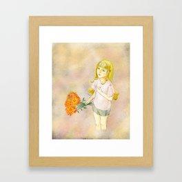 Girl with calendula Framed Art Print