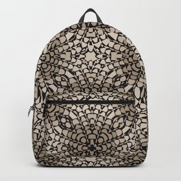 Black and Tan Geometric Modern Chrysanthemum Pattern Backpack