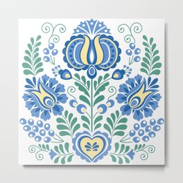 Moravian Folk Design Blue Metal Print