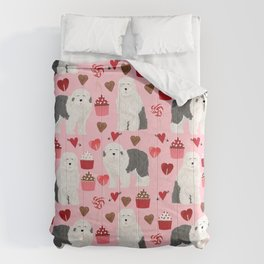 Old English Sheepdog valentines day hearts cupcakes pattern pet portrait dog art gifts love Comforters