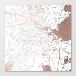 Amsterdam White on Rosegold Street Map Canvas Print