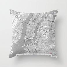 New York Map Line Throw Pillow