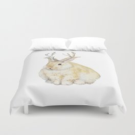Watercolor Grumpy Jackalope Antler Bunny Duvet Cover