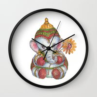 ganesh Wall Clocks featuring Ganesh by coconuttowers