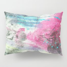 Grunge magenta teal hand painted watercolor Pillow Sham