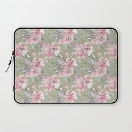 Trendy modern sage green and blush pink floral watercolor pattern Laptop Sleeve