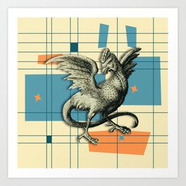 Mythical Cockatrice on Retro Pattern Art Print