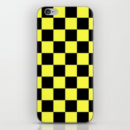 Black and Yellow Checkerboard Pattern iPhone Skin