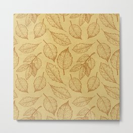 Autumn Leaves Ocre Pattern Metal Print