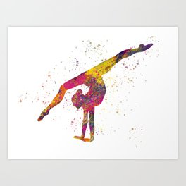 Rhythmic gymnastics competition in watercolor 04 Art Print