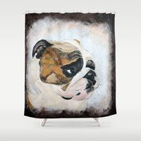 english bulldog Shower Curtains featuring English Bulldog by Kristiekoz