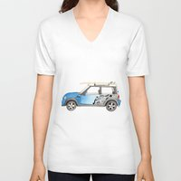 mini cooper V-neck T-shirts featuring Magnificent Mini Cooper by Fuzzy Art