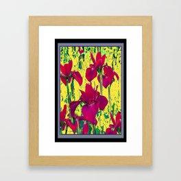 Spring Yellow Colored Garden Fuchsia Purple-Red Iris Pattern Framed Art Print