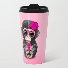 Pink Day of the Dead Sugar Skull Baby Chimp Travel Mug