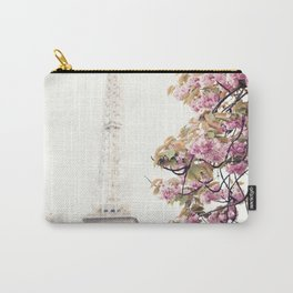 Cherry blossoms in Paris, Eiffel Towerr Carry-All Pouch