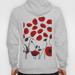 Modern Black and Red Flowers and Petals Hoody