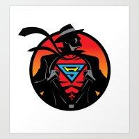 super hero Art Prints featuring Super Hero by Greene Graphics
