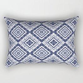 Strict , white blue ornament blue tile decoration moroccan arabic design Rectangular Pillow