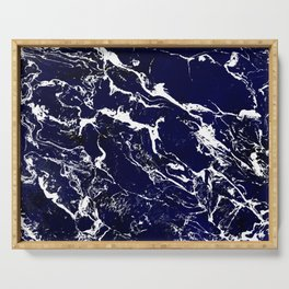 Modern Navy blue watercolor marble pattern Serving Tray