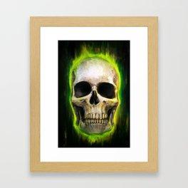 Green Skull Framed Art Print