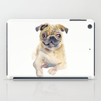 pug iPad Cases featuring Pug by coconuttowers