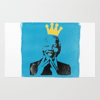 mandela Area & Throw Rugs featuring King Mandela by César Ovalle